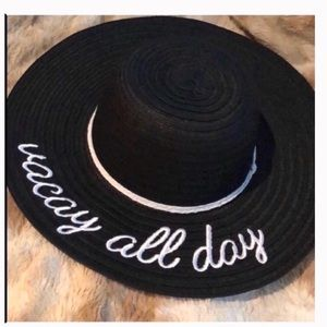 Vacay all day sunhat black hat nwt